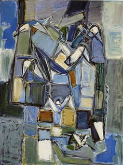 "Pinchas Abramovitch ""Composition with doves"", 1957 -  oil/canvas 124.5x95 cm (img. www.imj.org.il)"