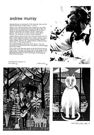 Andrew MURRAY in ARTLOOK 19, Johannesburg, June, 1968, p. 15, ill.