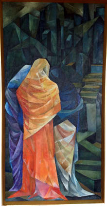 "Ruy Calçada BASTOS ""The three Marias and Via Dolorosa"", 1962 - oil/canvas - 154x78 cm"