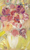 "Heidi HERZOG ""Roses in a vase"", 1965 - oil on canvas - 63 x 39.5 cm"