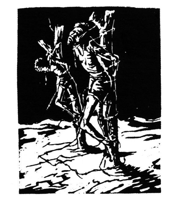 "Shadrack HLALELE ""Lynched figures"", undated – linocut – 28x21.6 cm – ELC Collection (©) ISBN 1-919930-13-2"