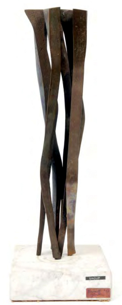 "Berrell JENSEN ""Group"" (Angular Vertical Villi), 1972 - bronze on white marble, 46.3 cm H excl. base - ex Collection Joy Barnes"