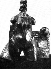 "JJ den Houting ""Man's Destiny"" (""Die Val van die Mens"", 1982 - bronze 1/1 - cat. X21 - exhibited in 1982 and illustrated in Hoofstad, Pretoria 14th April, 1982, p.12"