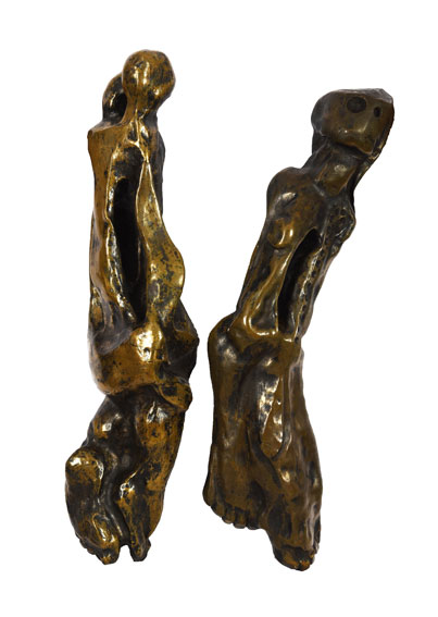 Koos den Houting - Pair of door handles 1970 coppered wood 56 and 54 cm - Russell Kaplan Auctioneers Johannesburg - 1st April 2017 Lot P122