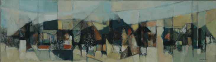 "Ronald MYLCHREEST ""Village"" - oil/board 40x136 cm - Sothebys JHB 19.11.07 Lot397"