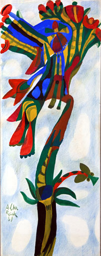 "Albert Chr. Reck ""Flower"", 1968 - crayon and tempera on board - 79x31 cm (PELMAMA donation to Pretoria Art Museum)"