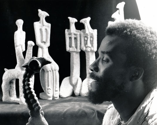 Paul SEKETE in 1990 reflecting on his sculptures to be exhibited at Gallery 21, Johannesburg