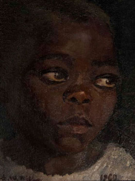 "Shulamith WITTENBERG - MILLER ""Portrait of an African child"", 1960 - oil on canvas, 23 x 16 cm (img douglasstewart.com.au - 2012)"