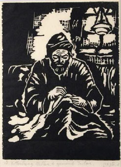 "Shulamith WITTENBERG - MILLER ""A Yemeni tailor"" linocut (download from Leslie Hindman auctioneers Sale 59 Lot 1114)"