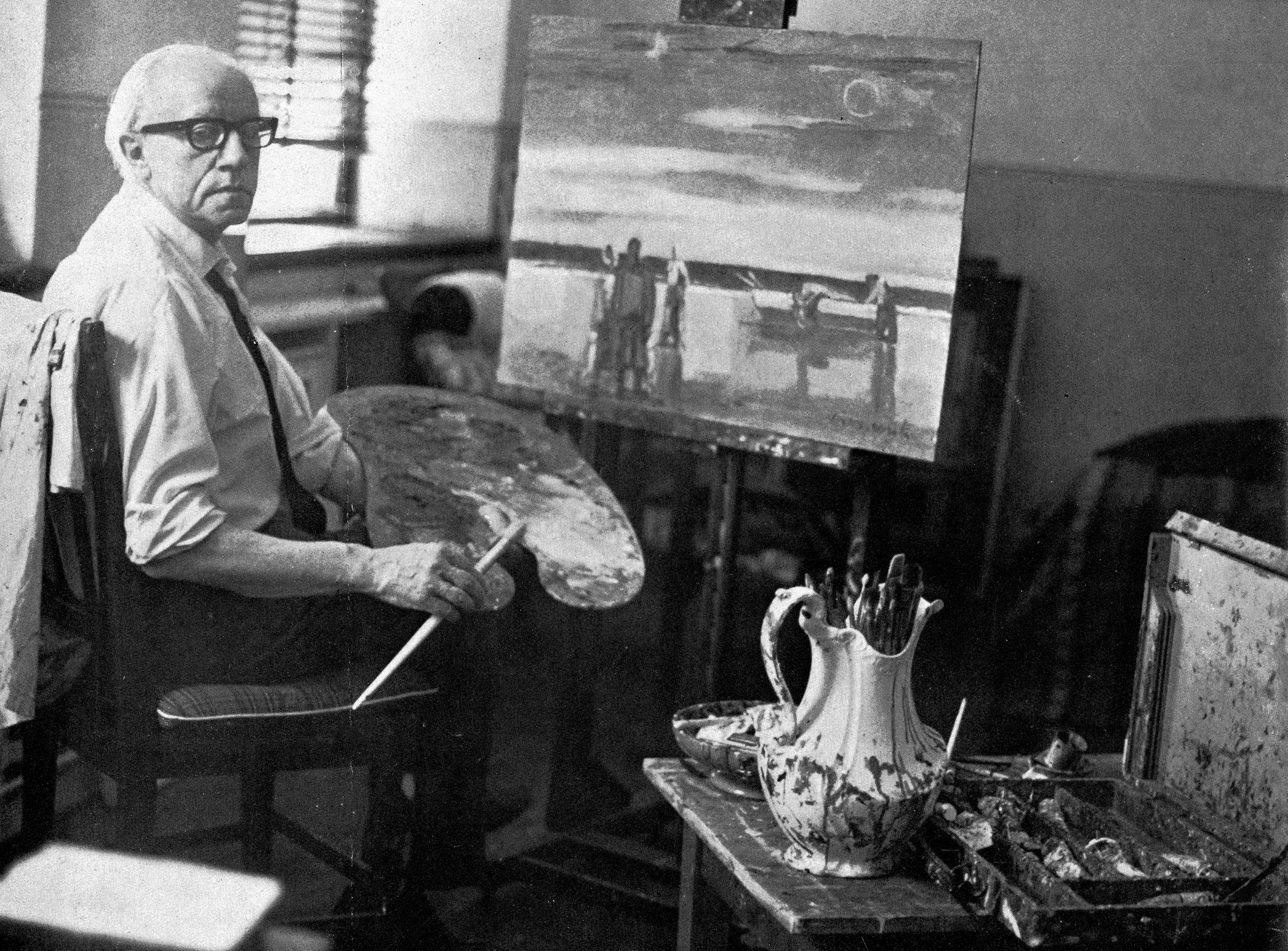 maurice van essche archives maurice van essche in his studio in 1968 south african panorama pretoria