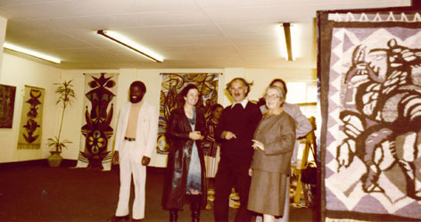 Albert Chr. Reck - Exhibition view at Gallery 21 Johannesburg 1978 with Dr S.S. Nxumalo (Minister of Mines, Industries & Tourism, Swaziland), Maria and Albert Chr. Reck, Mme. FML Haenggi, F.F. Haenggi (at back) (img MS Bingo Mbabane)